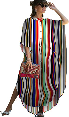 Swimsuit Cover ups Women Rainbow Print Caftan Plus Size Caftans Kimono Cardigan Half Sleeve Vneck Caftan Dresses Button Down Open Front Beach Blouse Side Split Maxi Beach Dress (8612 Rainbow1)