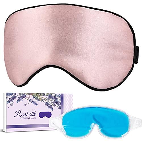 LC-dolida Silk Sleep Mask Super Smooth Eye Mask Satin Blackout Sleeping Mask with Cooling and Heated...