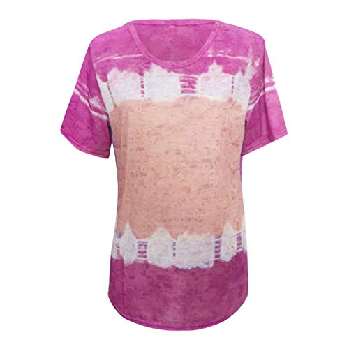 LEXUPE Women Tops Summer Comfortable Cool T-Shirts Casual Fashion Blouses Ladies Loose Striped Patchwork Lace Three Quarter Sleeve Shirts(Hot Pink, L)