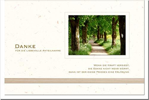 metALUm Danksagungskarten TRAUER | Waldweg | 10 Karten | 1501006S