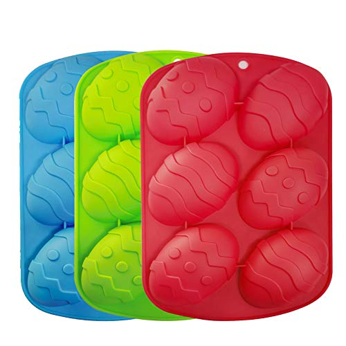 3 Pezzi Stampo 3D per Uova di Pasqua Stampo in Silicone Antiaderente a Forma di Uovo di Pasqua Stampi per Uova di Pasqua in Silicone per Sapone Stampi per Torte Fai Da Te al Cioccolato, Pasticceria