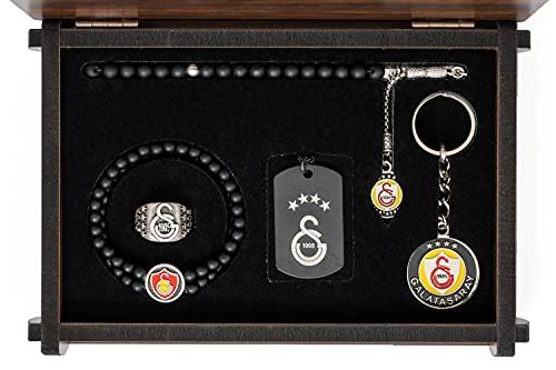 Gök-Turk Handgemachte Schatulle Schmuck-Set 'Galatasaray GS' für Herren: Set aus Halskette, Ring, Armband, Gebetskette - Tesbih, Schlüsselanhänger