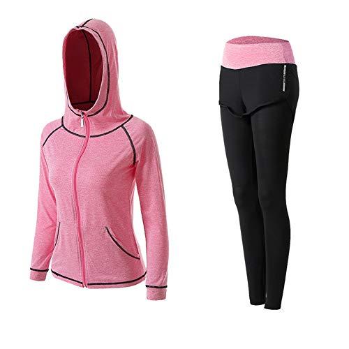 Damen-Yogaanzug, 2-teilig, schnelltrocknend, morgendliches Laufen, Outdoor, Fitnessstudio Gr. XX-Large, rose