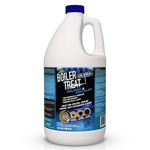 BOILER TREAT ULTRA | Delimer and Descaler | Muriatic and Hydrochloric acid replacement - 1 Gallon (Removes Scale & Lime in Steam Boilers, Hot Water Systems, Closed Loop Systems & Wood Burning Boilers)