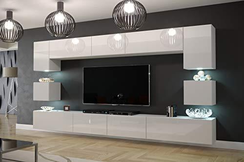 Furnitech Modernes TV Möbel mit LED Beleuchtung Schrank Wohnschrank Wohnzimmer Schrankwand Wohnwand Mediawand Nowara 1C (AN1-17W-HG21 1C, LED weiß)