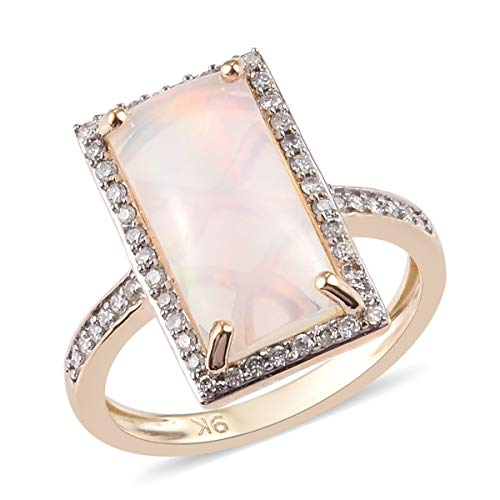 TJC AAA Opal Halo Ring for Women in 9ct Yellow Gold Anniversary Jewellery Size L with White Diamond, TCW 2.75ct