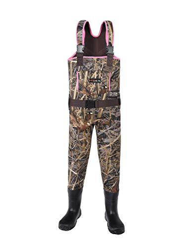 HISEA Kids Chest Waders Neoprene Fishing Waders for Toddler & Children Youth Duck Hunting Waders for Kids with Boots