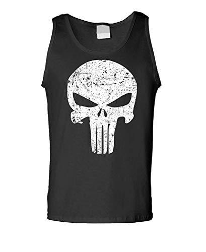 Punisher Skull • Mercenary Liberty Freedom • Unisex Cotton Tank Top (3XL, Black)
