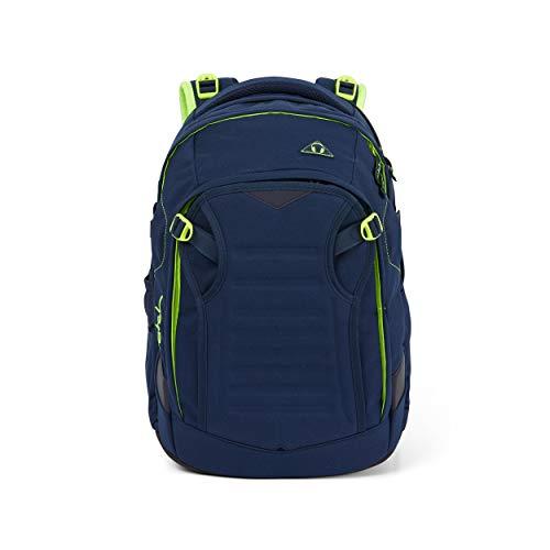 Satch match Schulrucksack - ergonomisch, erweiterbar auf 35 Liter, extra Fronttasche - Toxic Yellow - Dunkelblau