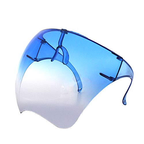 Futuristische Sonnenbrille, groß, verspiegelt, Unisex, flaches Visier für das gesamte Gesicht (1 Paar) (blauer Farbverlauf)