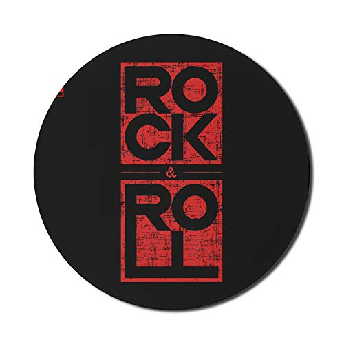 Ambesonne Music Mouse Pad for Computers, Rock and Roll Typography in Murky Tones Concert Poster Art Vintage, Round Non-Slip Thick Rubber Modern Gaming Mousepad, 8' Round, Dark Blue Grey and Vermilion