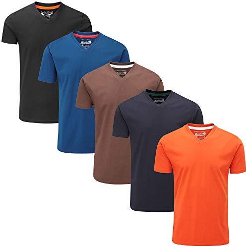 Charles Wilson 5er Packung Einfarbige T-Shirts mit V-Ausschnitt (XX-Large, Dark Essentials Type 42)