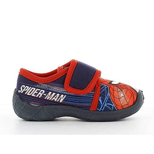 Spiderman Kinder Hausschuhe Blau EU 29, Pantoffeln, Puschen, Slipper, Hüttenschuhe für Jungen mit Spiderman Aufdruck und Rutschfester Eva Sohl
