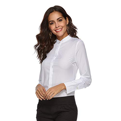 Camisa de Mujer de una Sola Pieza de Gasa con Cuello Alto de Manga Larga con Tapeta Oculta de