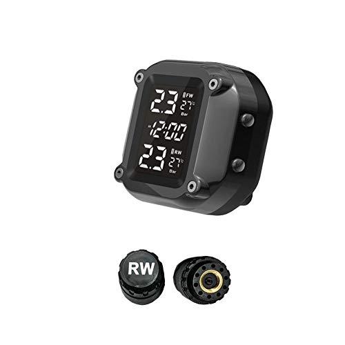 Teabelle Temperatura de los neumáticos de la Motocicleta Sistema de monitoreo de presión TPMS Pantalla LCD Sensor Externo Carga USB