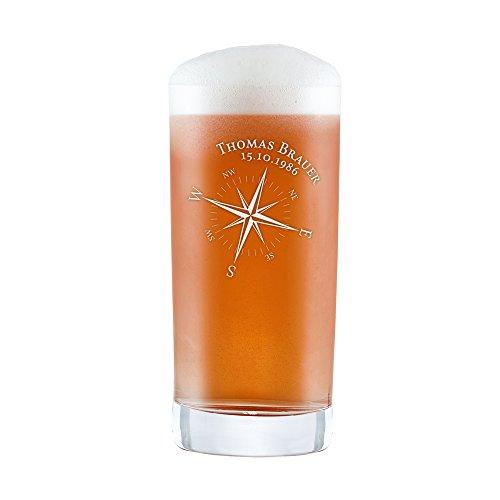 AMAVEL Bicchiere per Birra Artigianale con Incisione Personalizzata con Nome e Data, Motivo Bussola, Calice da Pinta o da Cocktail, Regalo per Lui, Festa del papà, ca. 0,5 l