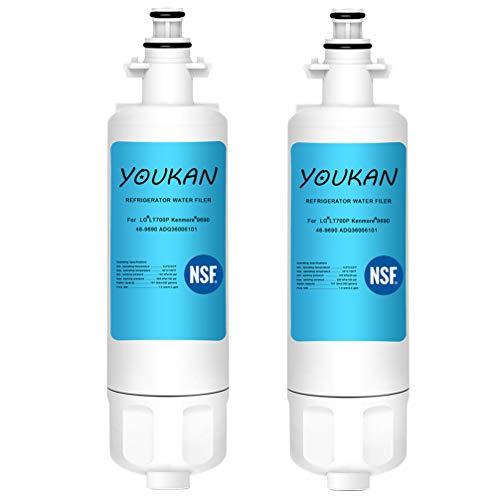 Solustre Kühlschrank Wasserfilter Ersatz für Kenmore LG 46-9690 LT700P ADQ36006101 ADQ36006102 048231783705 LT700 9690 (2 Stück)