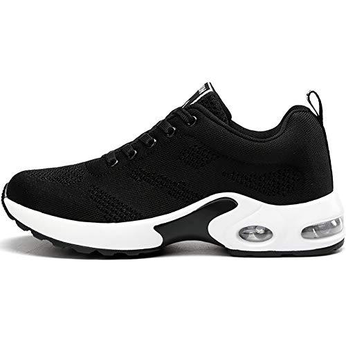 GAXmi Zapatillas Deportivas de Mujer Air Cordones Zapatos de Ligero Running Fitness Zapatillas de para Correr Antideslizantes Amortiguación Sneakers Negro 38 EU