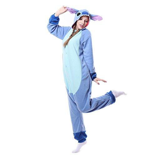 Winter Warm Flanell Unisex Einteiler/Pyjama für Erwachsene Stitch Pyjama,Blue New Stitch,S