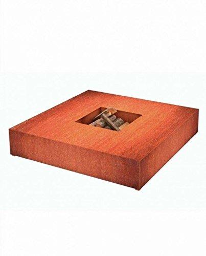 Burni Feuertisch viereckig aus Cortenstahl 120 cm x 120cm x 28 cm / Feuerschale bzw. Feuerkorb...