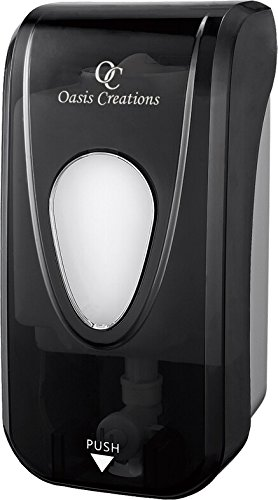 Oasis Creations Manual Soap and Hand Sanitizer Dispenser, Liquid or Gel, Soap Dispenser Wall Mount, 1000ml/33oz. Commercial or Residential – Black Smoke