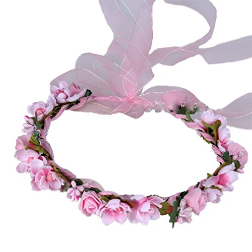 YAZILIND Nupcial Rose Flor de la Corona de Dama de Honor de Pelo Corona Floral Diadema de Playa para los Festivales de Boda