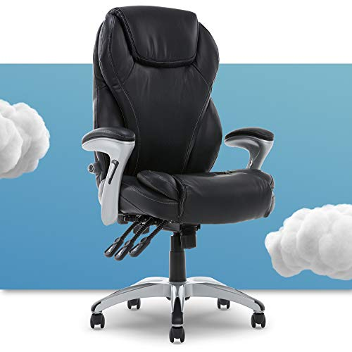 Serta Executive Adjustable Office Chair, Ergonomic Leather Computer Chair with Layered Memory Foam Pillows, Contoured Lumbar, Pillowed Headrest