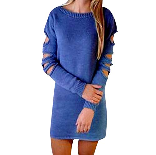 OSYARD Damen Sexy Rückenfrei Destroyed Pullover Sweater Outwear Rundhalsausschnitt Einfarbig, Frauen Kragen Hohlloch Open Back Rollkragenpullover Strick Bluse Sweatshirt Tops T-Shirt (L, Blau)