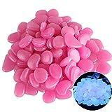 Lrxinki 100 piedras luminosas multicolor, piedras luminosas, piedras fluorescentes para aceras, césped, patio, aceras, acuario, caminos (morado oscuro)