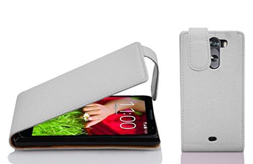 Cadorabo Hülle für LG G2 Mini - Hülle in Magnesium WEIß – Handyhülle aus Strukturiertem Kunstleder im Flip Design - Hülle Cover Schutzhülle Etui Tasche