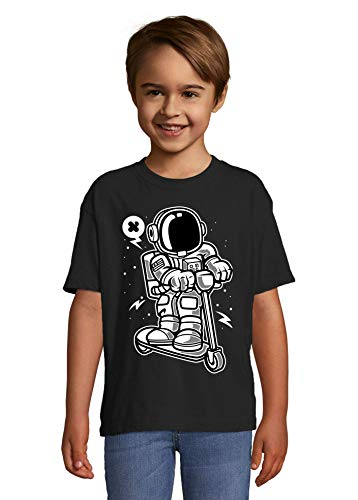 Cartoon Styled Astronaut Scooting langs Scooter Kid's Crew Neck T-Shirt