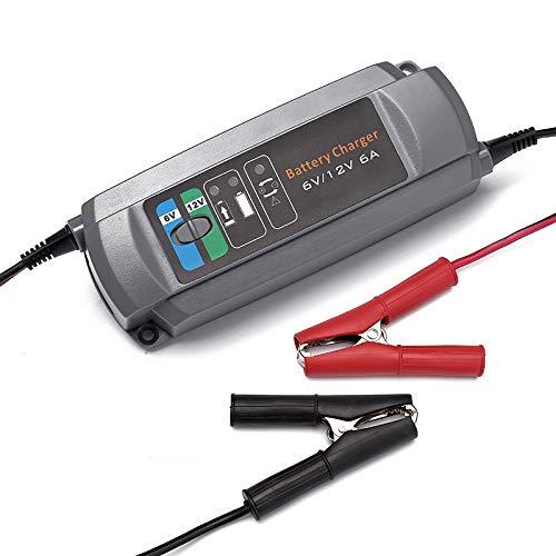 ERAYAK 6 Amp Caricabatterie, presa EU, 3 fasi, caricatore intelligente, completamente automatico, modalità di commutazione facile per batteria 6V / 12V