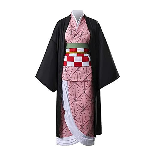 Anjinguang Disfraz Kimono Kamado Nezuko Kochou Shinobu Agatsuma Zenitsu Iguro Obanai Rengoku Kyoujurou Cosplay Disfraz Halloween Fiesta, Kamado Nezuko, S-M