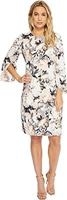 Calvin Klein Women's Printed Slit Flare Sleeve Dress