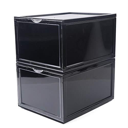 2/6/8 cajas magnéticas para zapatos, apilables, cajas para zapatos, fácil montaje, caja para zapatos, caja para zapatos, caja para zapatos (negro/blanco) (6 unidades en negro)
