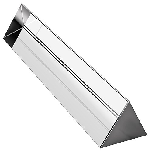 science classroom optics kits Amlong Crystal 6 inch Optical Glass Triangular Prism for Teaching Light Spectrum Physics and Photo Photography Prism, 150mm