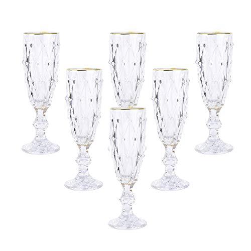 XZZFD 6 Copas De Champán Retro Vidrio,Elegante Copas De Champán De Cristal para Boda,con Kim Jong-Pen Copas De Vino Cumpleaños Bar Copa De Champán-Transparente 6