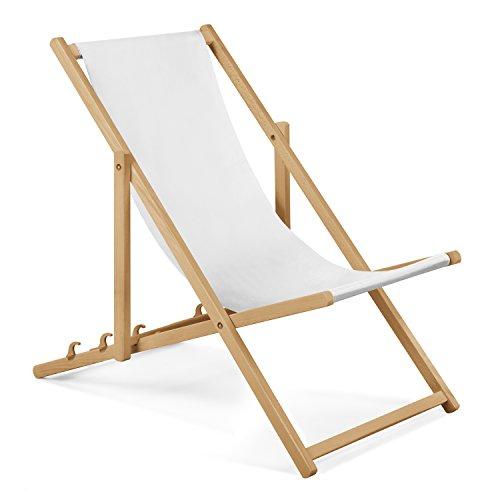 Unbekannt 2xGartenliege aus Holz Liegestuhl Relaxliege Strandliege (Weiß) GRATIS Absicherndes Einstellungssystem