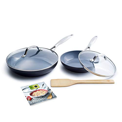 GreenPan Valencia Pro Hard Anodized Induction Safe Healthy Ceramic Nonstick, Covered Frying Pan Set, Gray