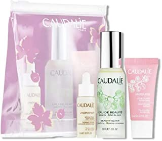 Caudalie On-The-Gow French Faves. Vinoperfect Radiance Serum (10 milliliters) To Brighten, Beauty Elixir Spray (30 milliliters) To Tone & Vinosource Moisturizing Sorbet (15 milliliters) To Soothe