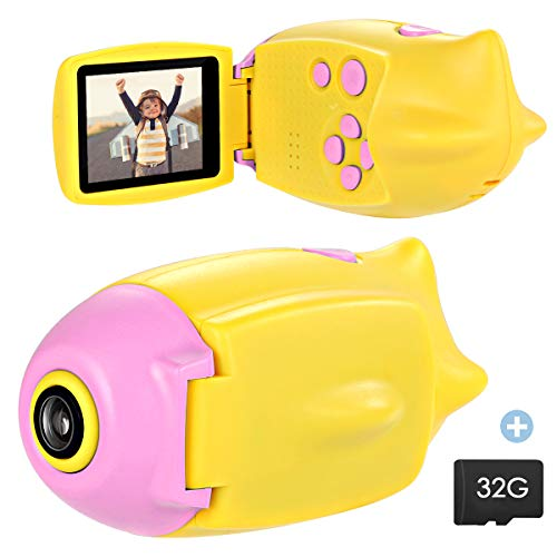 SOONHUA Kid Camera, Mini Digital Photo&Video Toy Camera, Gift for 4 5 6 7 8 Year Old Girls Boys, 2 Inch HD Screen 12MP Child Camcorder with Soft Silicone Shell (32G SD Card Included) (Pink Submarine)