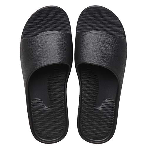 Zapatillas de Estar por Casa, Zapatillas Unisex para Mujer/Hombre Sandalias De Interior Y Exterior Zapatillas Antideslizantes Zapatillas De Pareja para El Ho(Color:Negro,Size:42-43EUR)