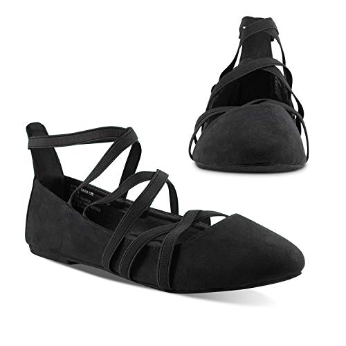 Twisted Sara Womens Flats | Ballet Flats with Elastic Straps and Comfort Insole, Black, 6
