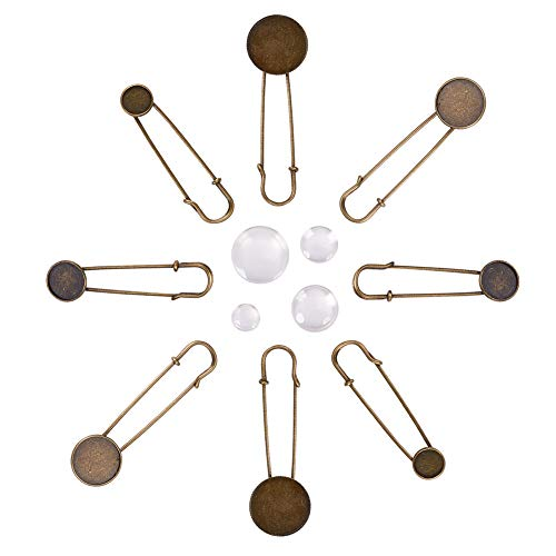 NBEADS 1 Scatola 40 Pezzi/Scatola Spilla in Metallo Spilla in Ferro con Cabochon in Vetro Trasparente per Monili Fai da Te Bronzo Antico, Spilla: Vassoio: 12-25 mm
