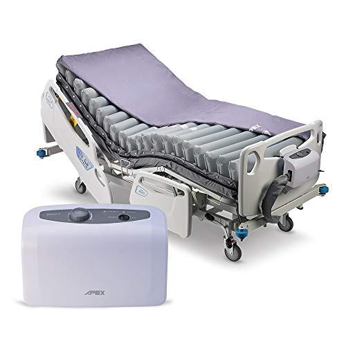 """Apex Medical Domus 3-5"""" Low Air Loss Alternating Overlay Pressure Mattress- Pressure Ulcers Prevention - Variable Pressure Pump System- Fits Hospital Beds"""