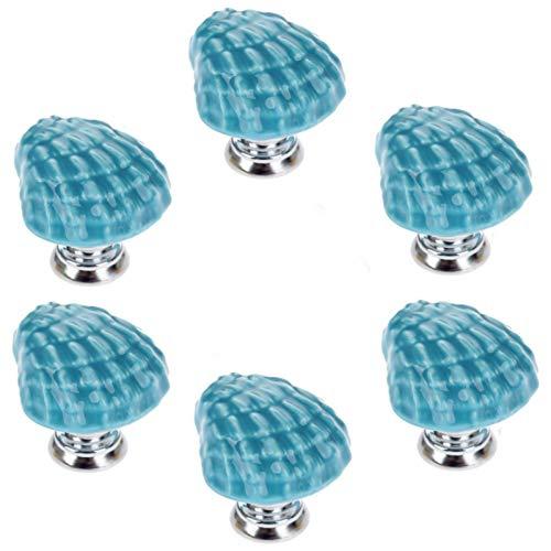 Joyindecor Ceramic Seashell Drawer Pulls Handles for Kitchen Cabinet Dresser Cupboard Wardrobe, Beach/Ocean Theme Knobs, Pack of 6 (Blue)