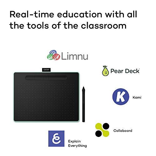 Wacom Intuos M Stift-/Mobiles Zeichentablett (zum Malen & Fotobearbeitung mit druckempfindlichem Stift & Bluetooth & 3 Softwaredownloads) pistazie - Ideal für Home-Office & E-Learning