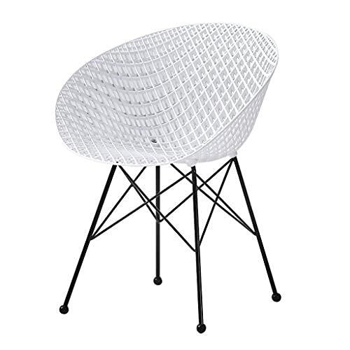 YQG Wuzhengzhijia - Silla de plástico nórdica, respaldo ligero para el hogar, silla de comedor, escritorio simple y moderno (4 unidades), color blanco