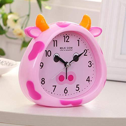 FPRW wekker met cartoon-motief, nachtlampje voor studenten, wekker, nachtkastje, kinderen, kleine wekker, tafeldecoratie voor babykamer, roze (4 inch)