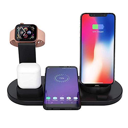 Cargador inalámbrico rápido Soporte de Carga 4 en 1 para Airpods Base para Cargador Apple Watch Compatible con iPhone XR/XS MAX/XS/X / 8/8 Plus, Samsung S9 / S9 + / S8 / S8 + / S7